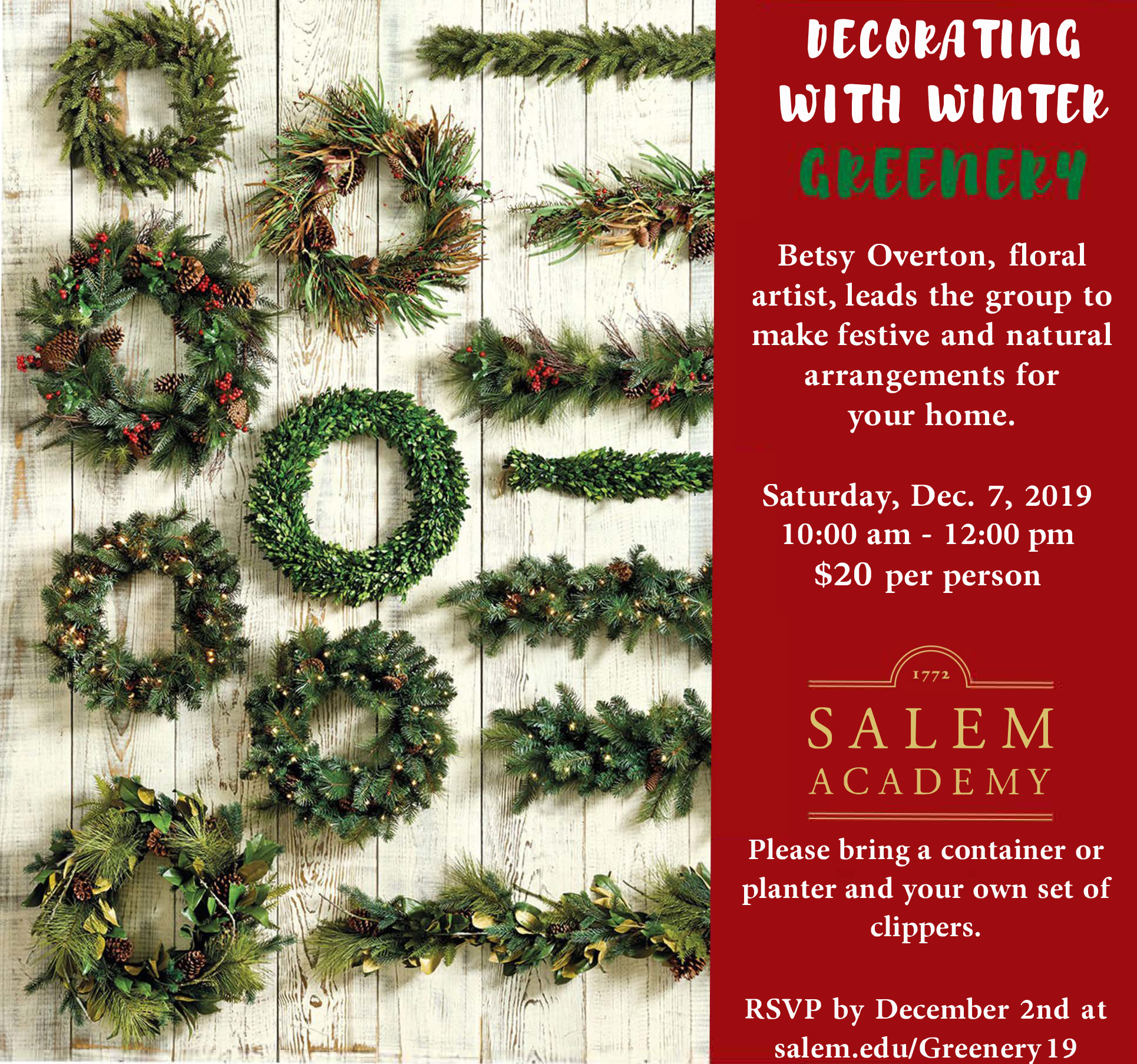 2019 Holiday Greenery Image - see page for details.