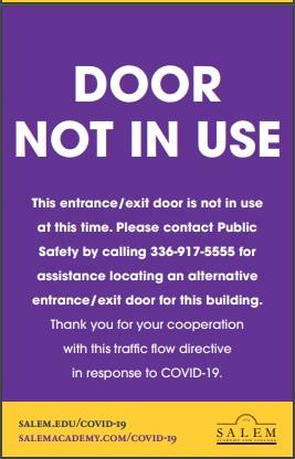 DOOR NOT IN USE sign